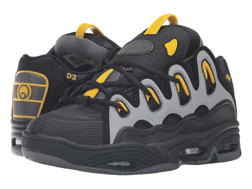 Osiris - D3 2001 (Black/Yellow/Charcoal) Men's Skate Shoes