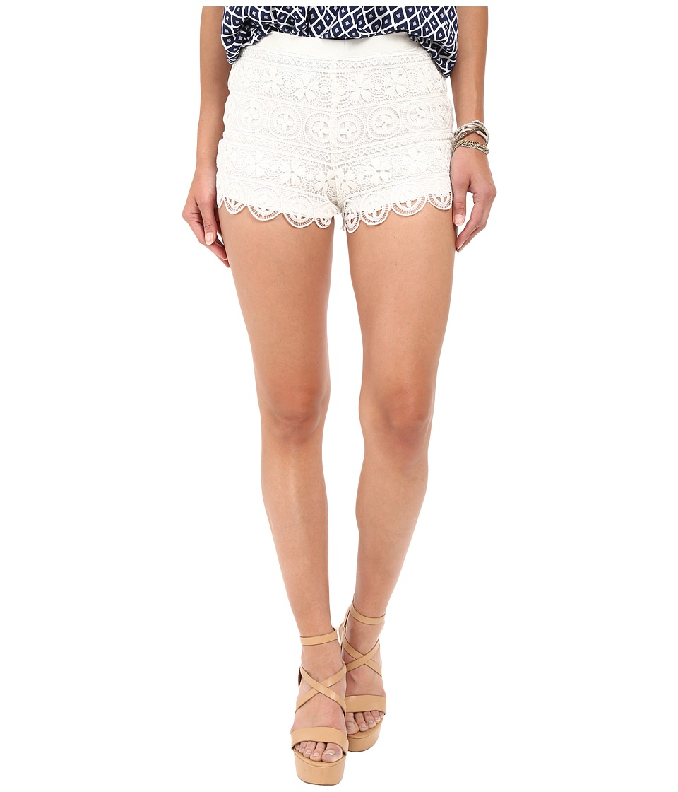 BB Dakota - Keeley Lace Shorts/Knit Lining (White) Women's Shorts