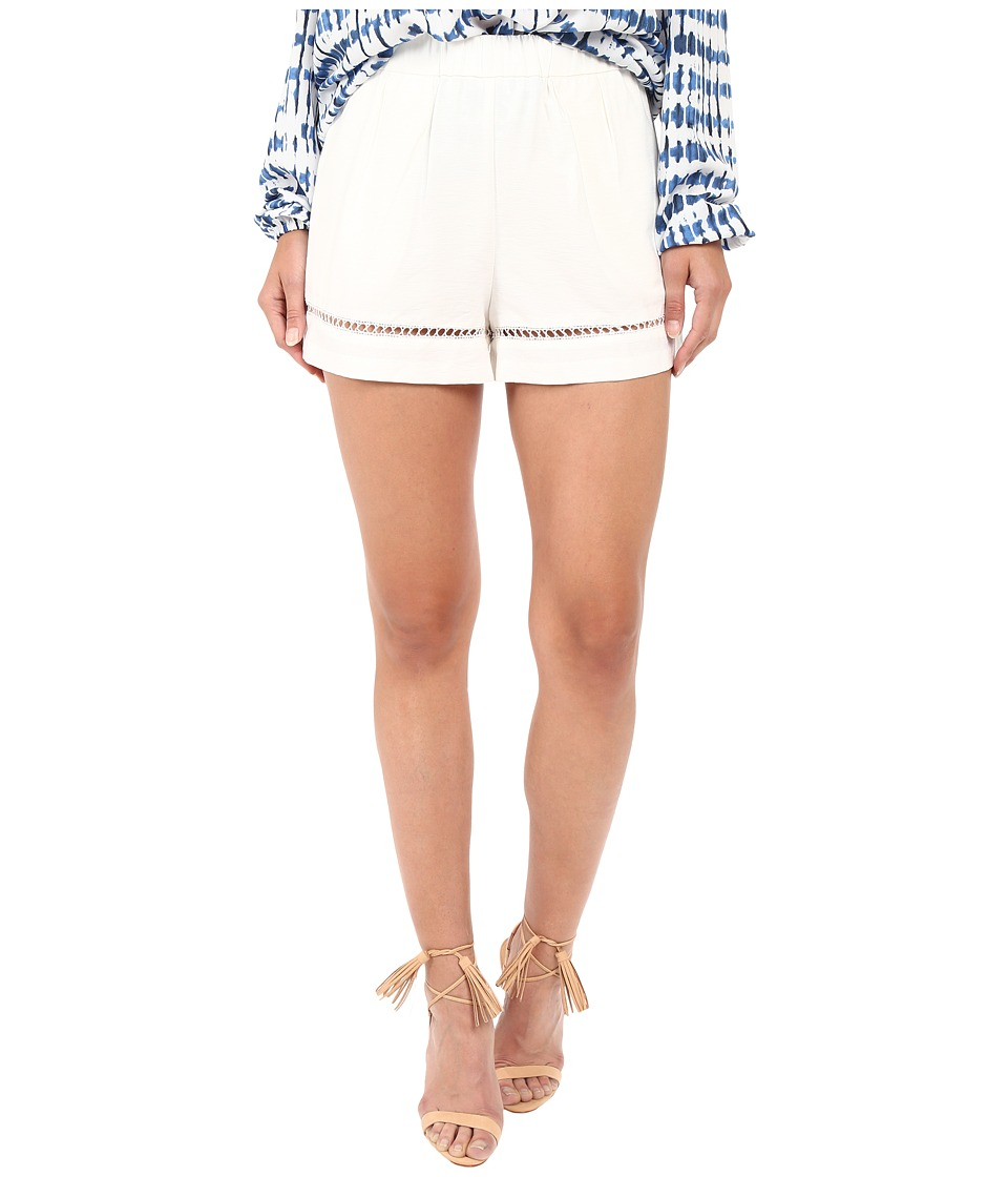 BB Dakota - Elastic Waist Pull-On Shorts with Lace Trim (Ivory) Women's Shorts
