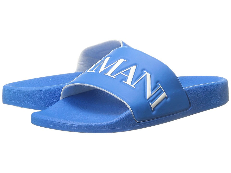 Armani Junior - Slip-On Sandal with Logo (Little Kid/Big Kid) (Cyan) Boys Shoes