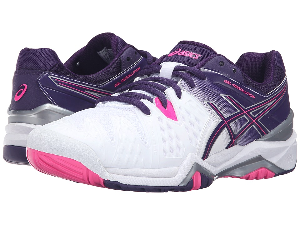 ASICS - GEL-Resolution 6 (White/Parachute Purple/Hot Pink) Women's Tennis Shoes