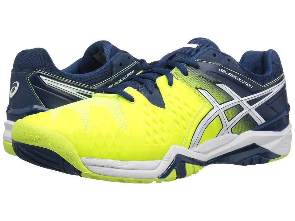 ASICS - GEL-Resolution 6 (Safety Yellow/White/Poseidon) Men's Shoes