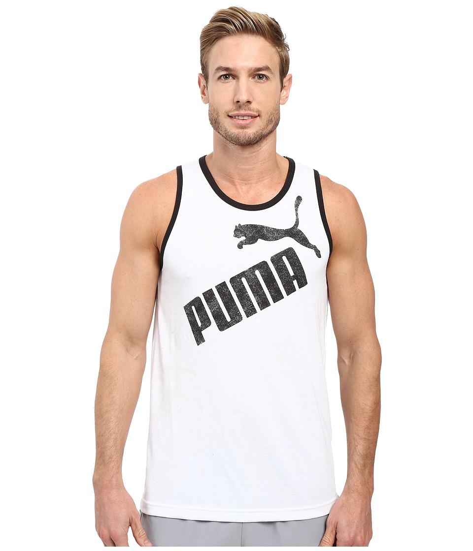 PUMA - #1 Tank (White/Black) Men's Sleeveless