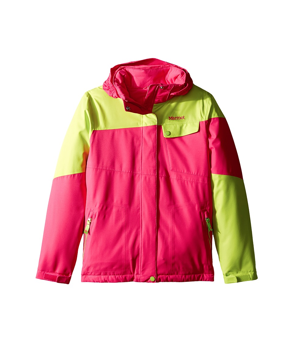 Marmot Kids - Girl's Moonstruck Jacket (Little Kids/Big Kids) (Pink Rock/Bright Green) Girl's Coat
