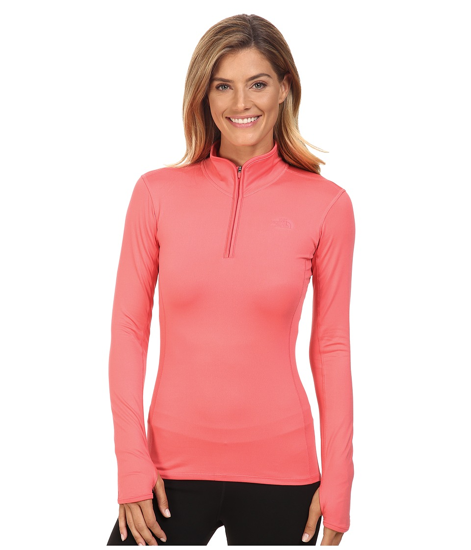 The North Face - Motivation 1/4 Zip Pullover (Calypso Coral) Women's Long Sleeve Pullover