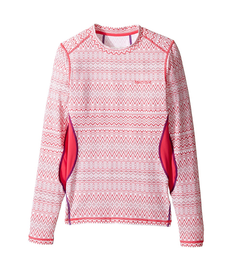 Marmot Kids - Lana Long Sleeve Crew (Little Kids/Big Kids) (Pink Rock Alps/Pink Rock) Girl's Clothing