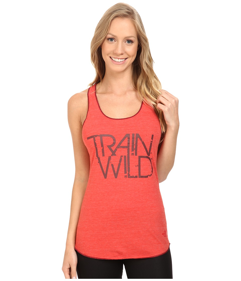 The North Face Graphic Play Hard Tank Top (Melon Red Heather) Women