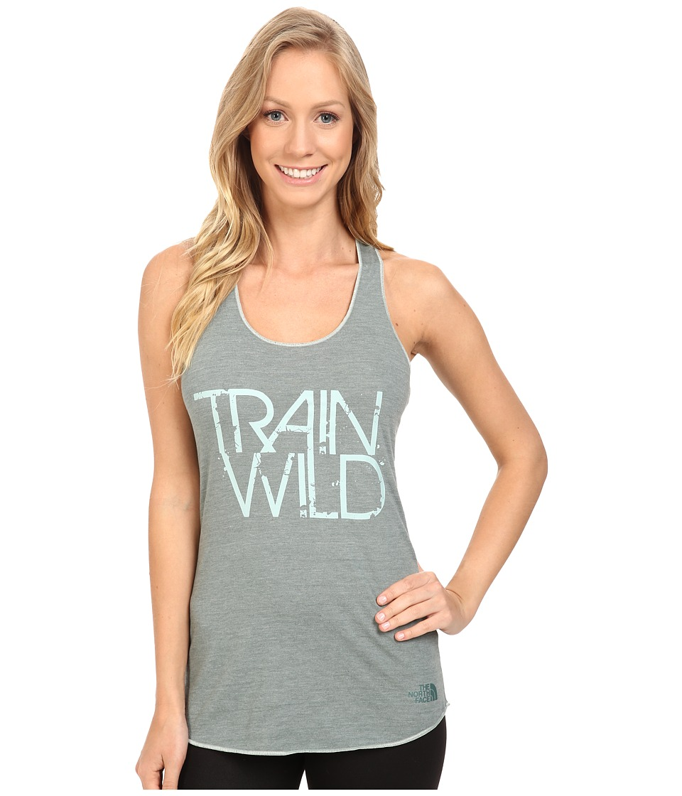 The North Face - Graphic Play Hard Tank Top (Balsam Green Heather) Women's Sleeveless
