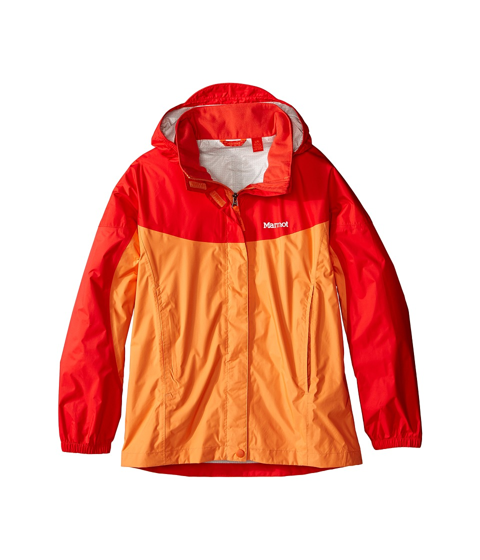 Marmot Kids - Girl's PreCip Jacket (Little Kids/Big Kids) (Nectarine/Scarlet Red) Girl's Coat