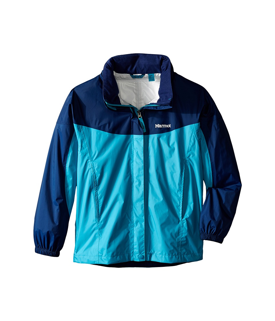 Marmot Kids - Girl's PreCip Jacket (Little Kids/Big Kids) (Turquoise/Arctic Navy) Girl's Coat