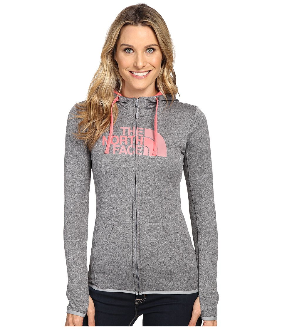 The North Face - Fave Half Dome Full Zip Hoodie (TNF Medium Grey Heather/Calypso Coral Multi (Prior Season)) Women's Sweatshirt