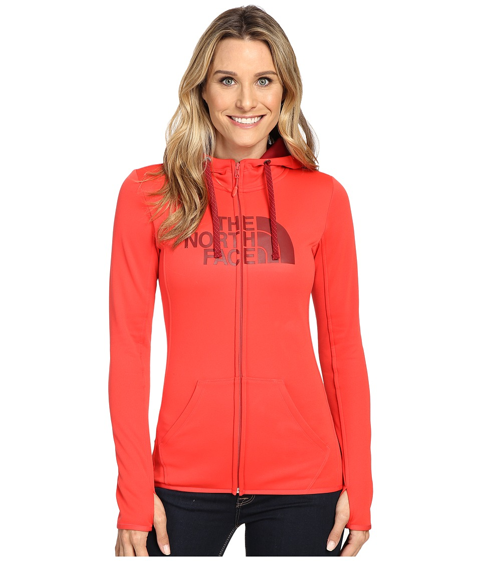 The North Face - Fave Half Dome Full Zip Hoodie (Melon Red/Biking Red) Women's Sweatshirt