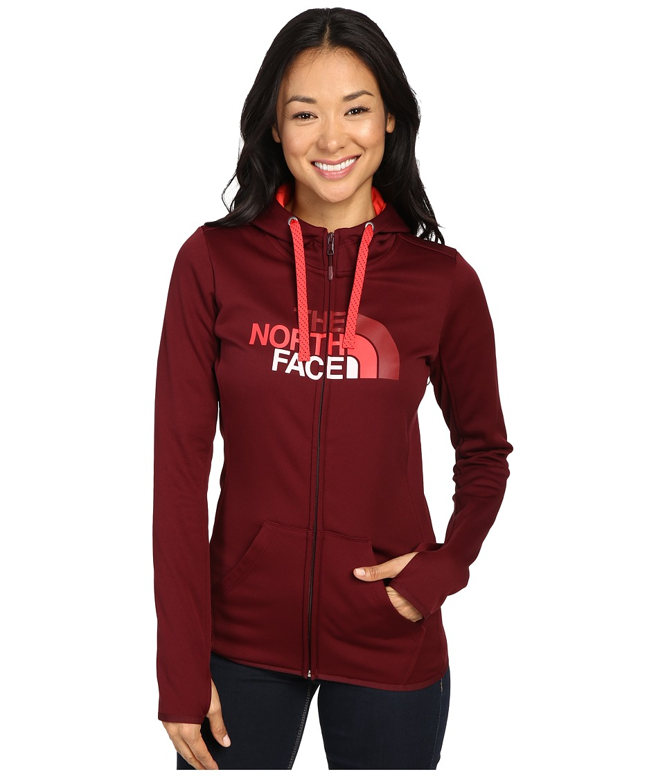 The North Face Fave Half Dome Full Zip Hoodie (Deep Garnet Red/Melon Red Multi) Women