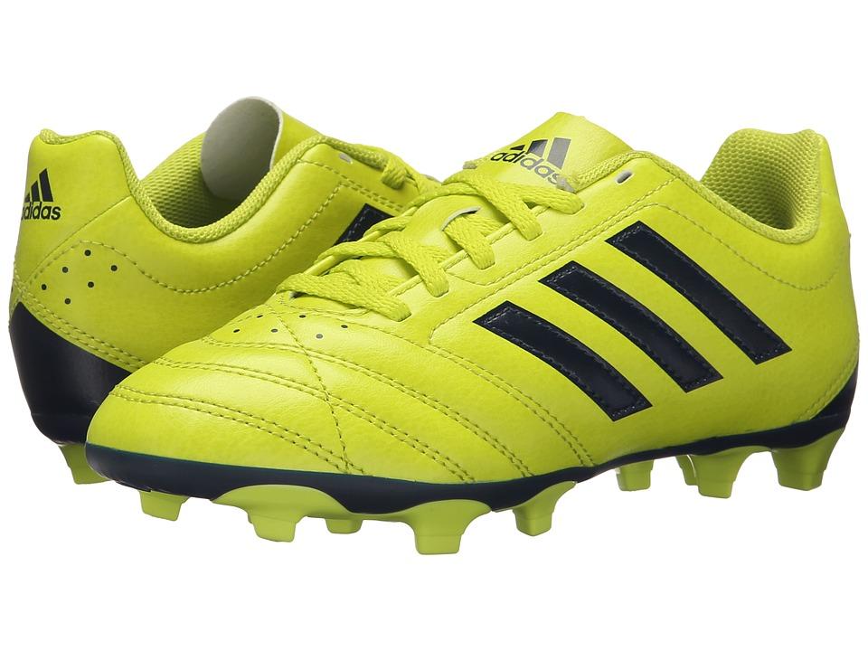 adidas Kids - Goletto V FG J (Little Kid/Big Kid) (Solar Yellow/Navy) Kids Shoes