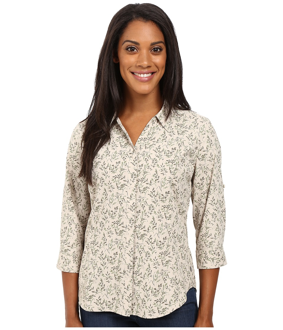Royal Robbins - Expedition Stretch 3/4 Sleeve Print (Light Khaki) Women's Clothing