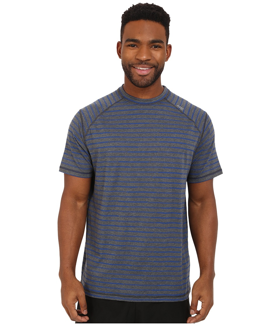 tasc Performance - Carrollton Top Print (Black Heather/Bamboo Stripe) Men's Short Sleeve Pullover