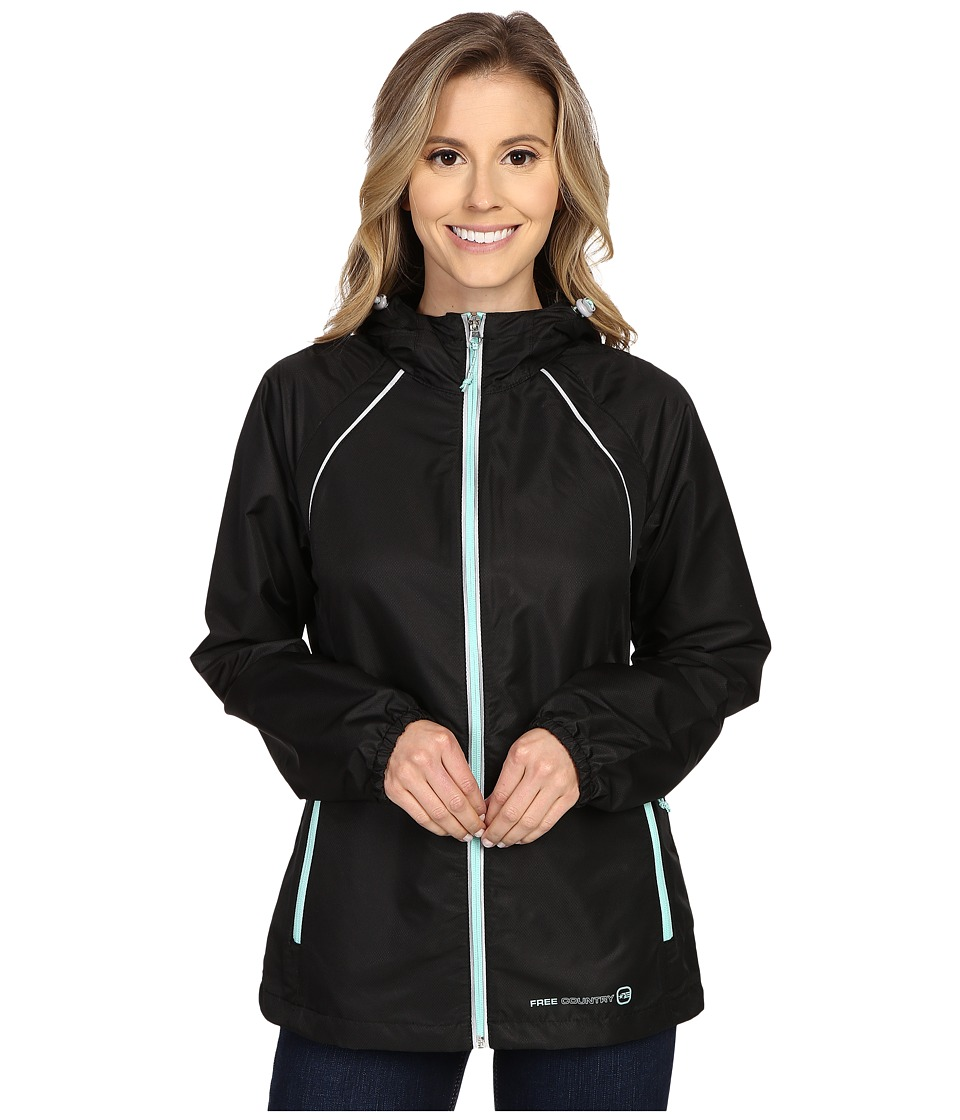 Free Country - Net Dobby Packable Jacket (Black/Ice Green) Women's Coat