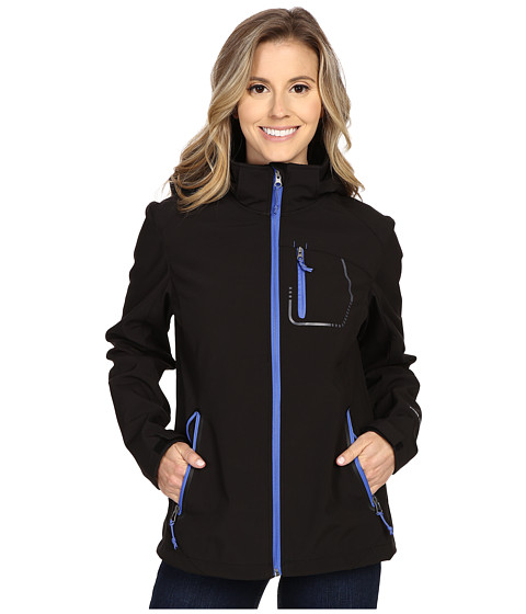 Free Country - Color Block Softshell (Black/Peri Mist) Women's Coat