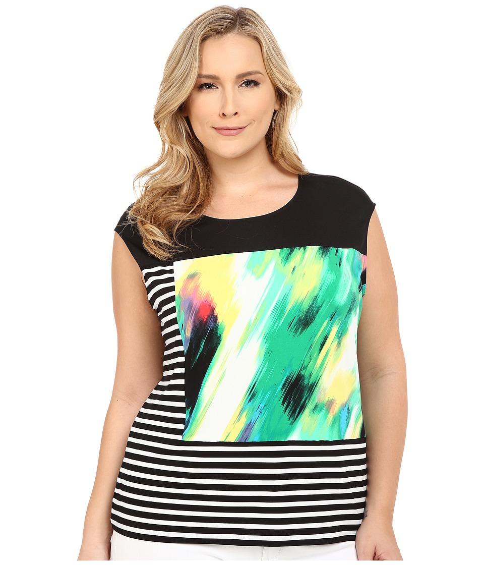 Calvin Klein Plus Plus Size Mixed Print Tee (Grass Daisy Combo) Women