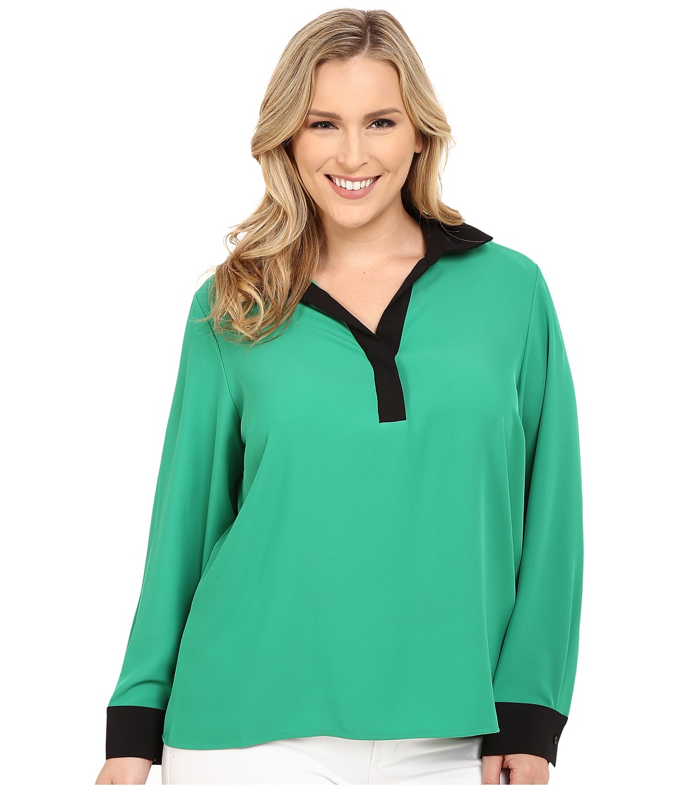 Calvin Klein Plus - Plus Size Long Sleeve w/ Contrast Collar Cuff (Grass) Women's Blouse