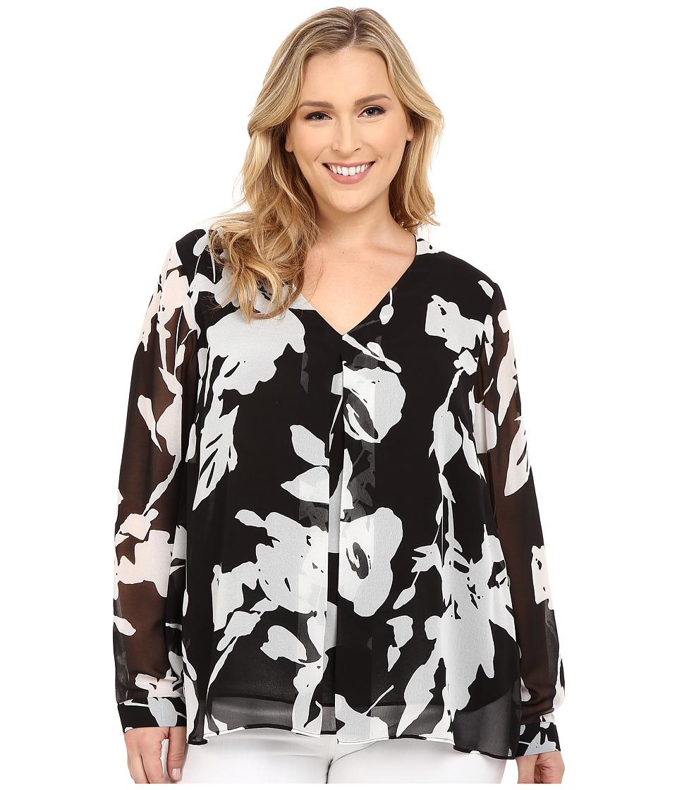 Calvin Klein Plus - Plus Size Long Sleeve Printed Invert Pleat Blouse (Black/White) Women's Blouse