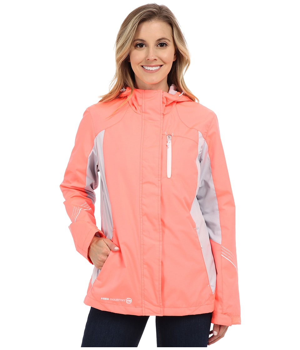 Free Country - Multiripstop Jacket (Sweet Papaya/Shell Grey/White) Women's Coat