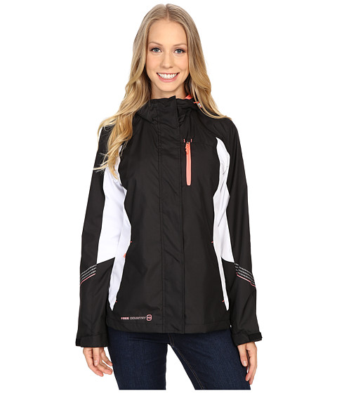Free Country - Multiripstop Jacket (Black/White/Sweet Papaya) Women's Coat