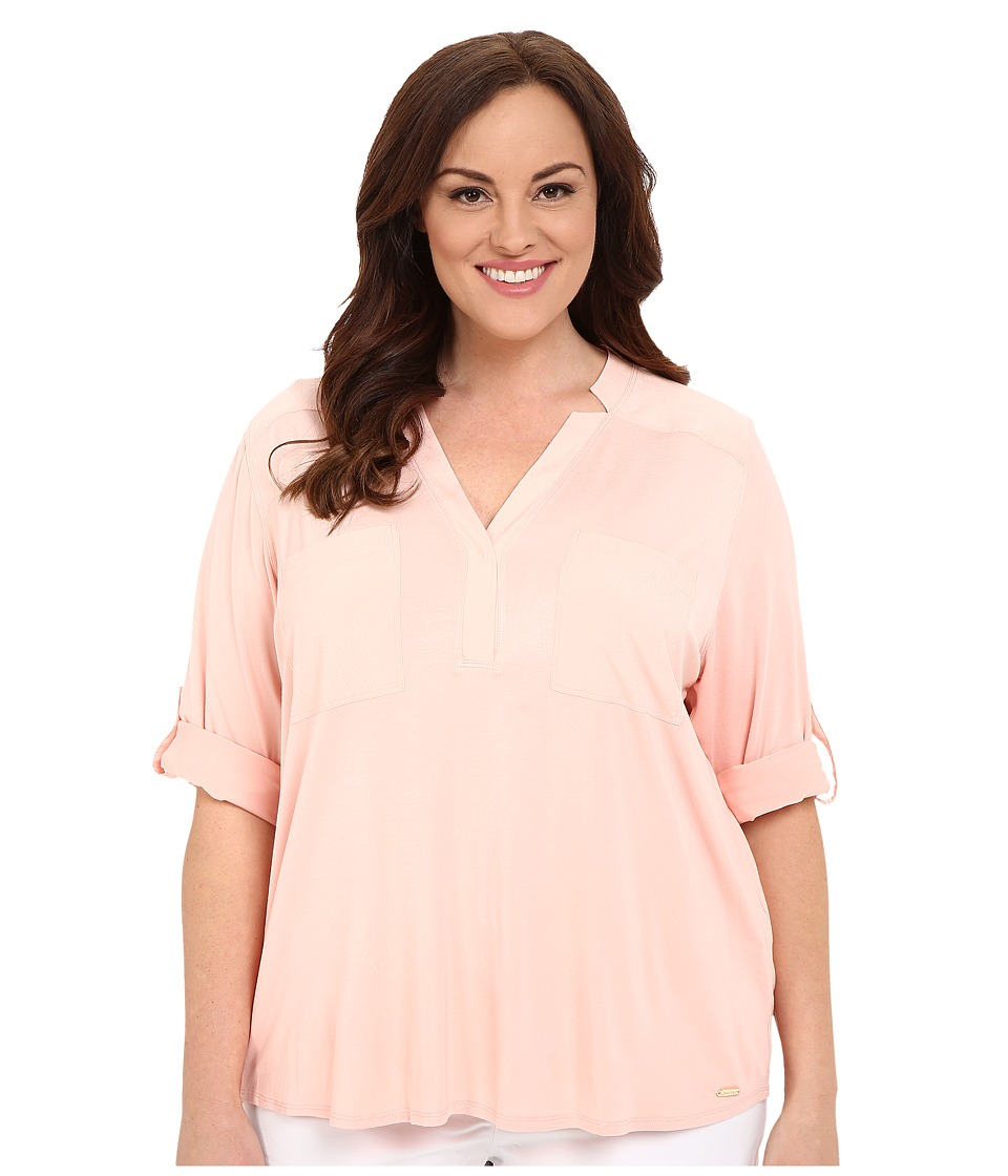 Calvin Klein Plus - Plus Size High-Low Roll Sleeve w/ Woven (Nectar) Women's Long Sleeve Pullover