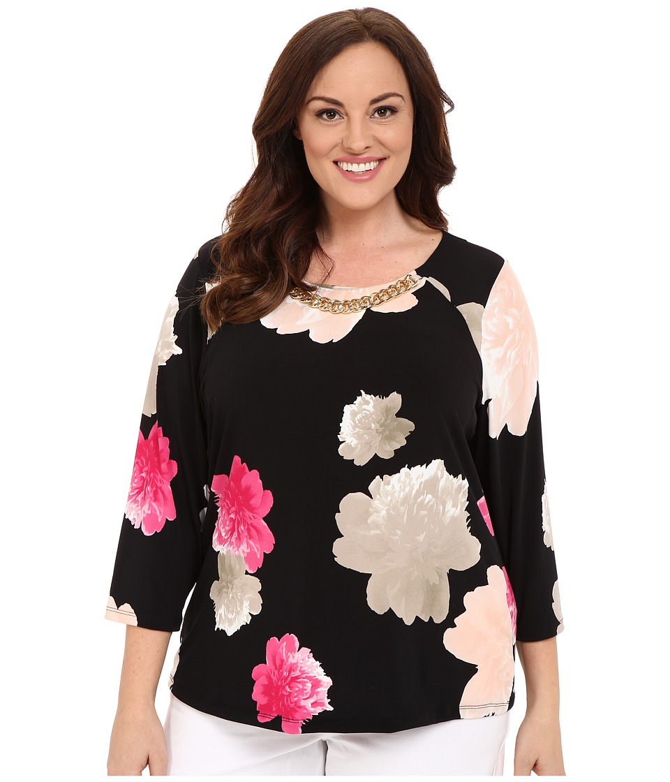 Calvin Klein Plus - Plus Size 3/4 Sleeve Top w/ Chain (Black/Hibiscus) Women's Blouse