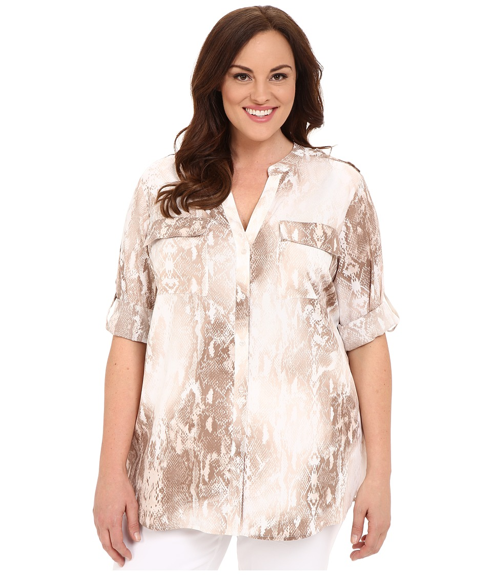 Calvin Klein Plus - Plus Size Printed Roll Sleeve Blouse (Soft White Multi) Women