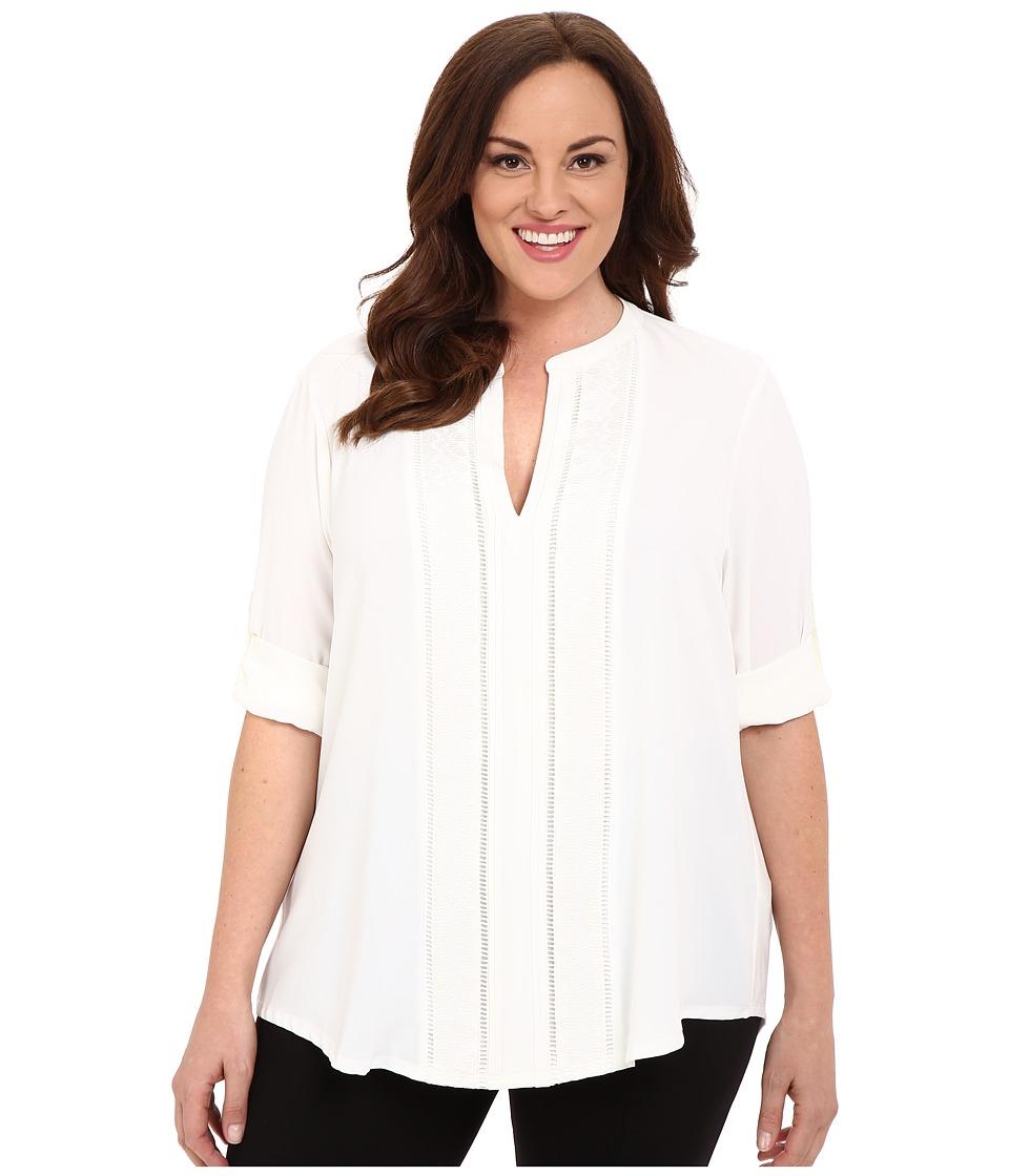 Calvin Klein Plus - Plus Size Roll Sleeve w/ Embroidery (Soft White) Women's Blouse