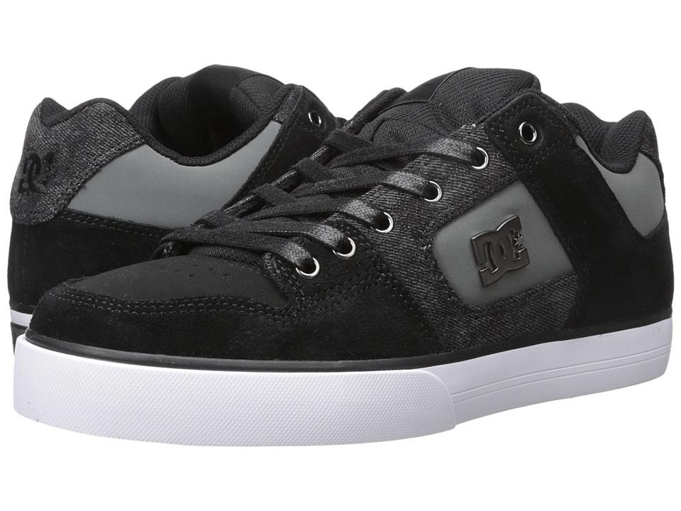 DC - Pure SE (Black Destroy Wash) Men's Skate Shoes