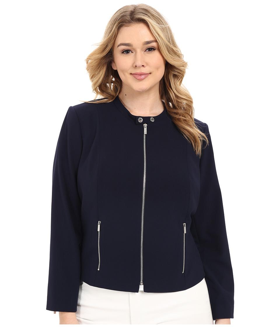Calvin Klein Plus - Plus Size Lux Jacket w/ Zip (Twilight) Women's Coat