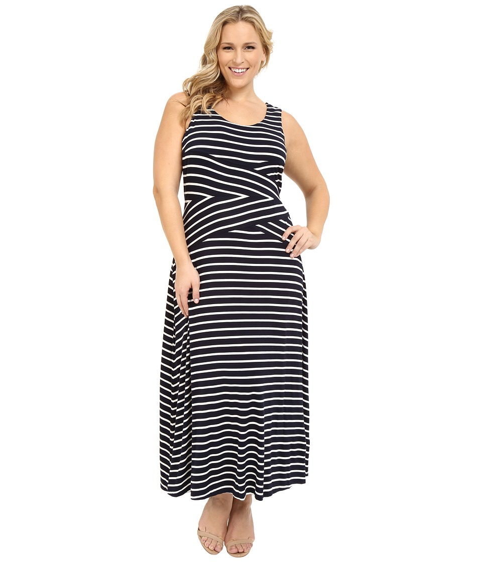 Calvin Klein Plus - Plus Size Stripe Maxi Dress (Navy Stripe/Navy/White) Women's Dress