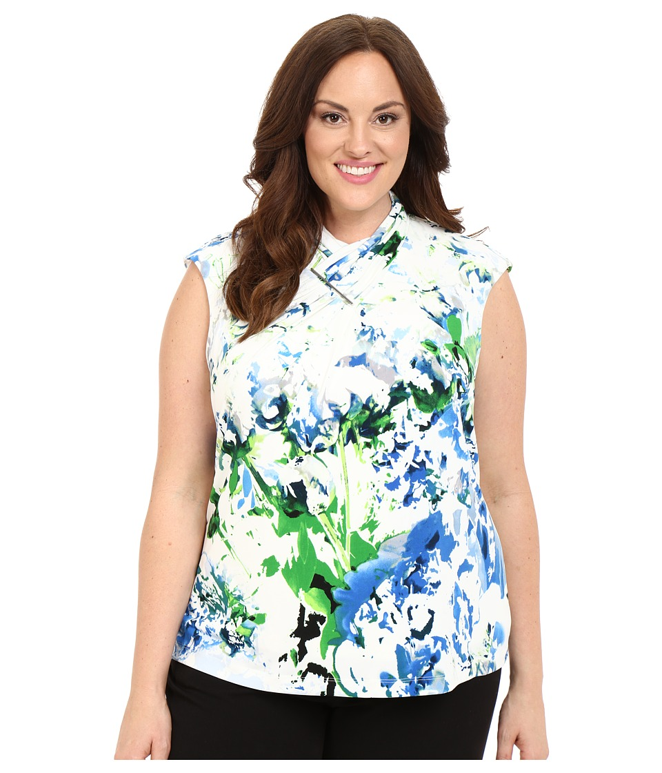 Calvin Klein Plus - Plus Size Sleeveless Top w/ Ruching Hardware (Iceberg White) Women's Blouse