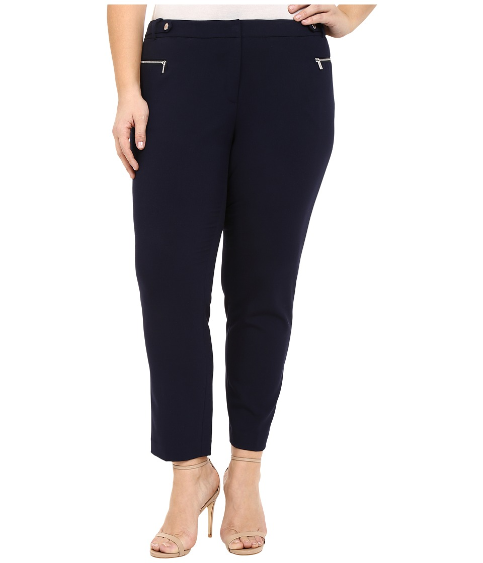 Calvin Klein Plus - Plus Size Straight Pants w/ Buck/Zip (Twilight) Women's Casual Pants