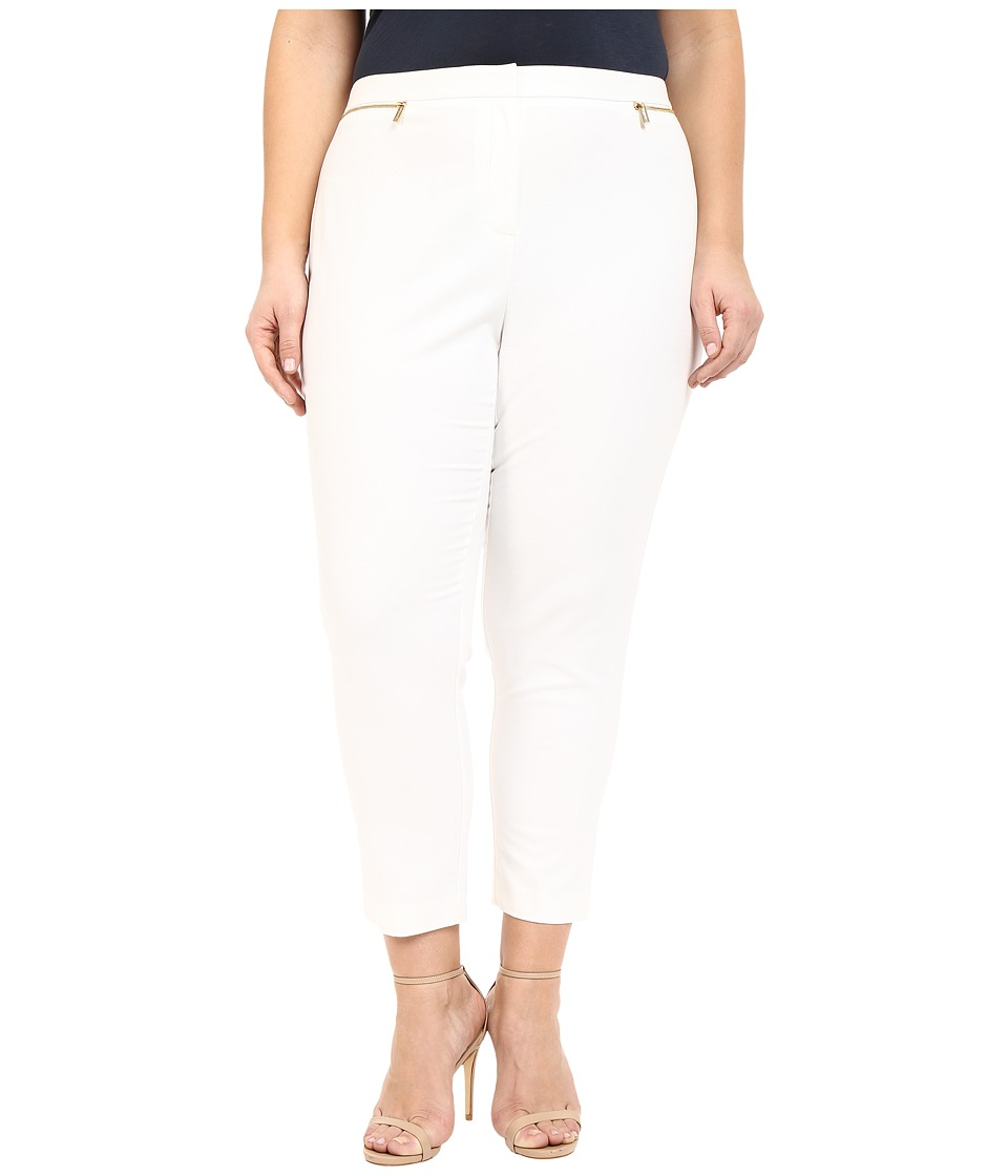 Calvin Klein Plus - Plus Size Ankle Pants w/ Zips (Soft White) Women's Casual Pants plus size,  plus size fashion plus size appare