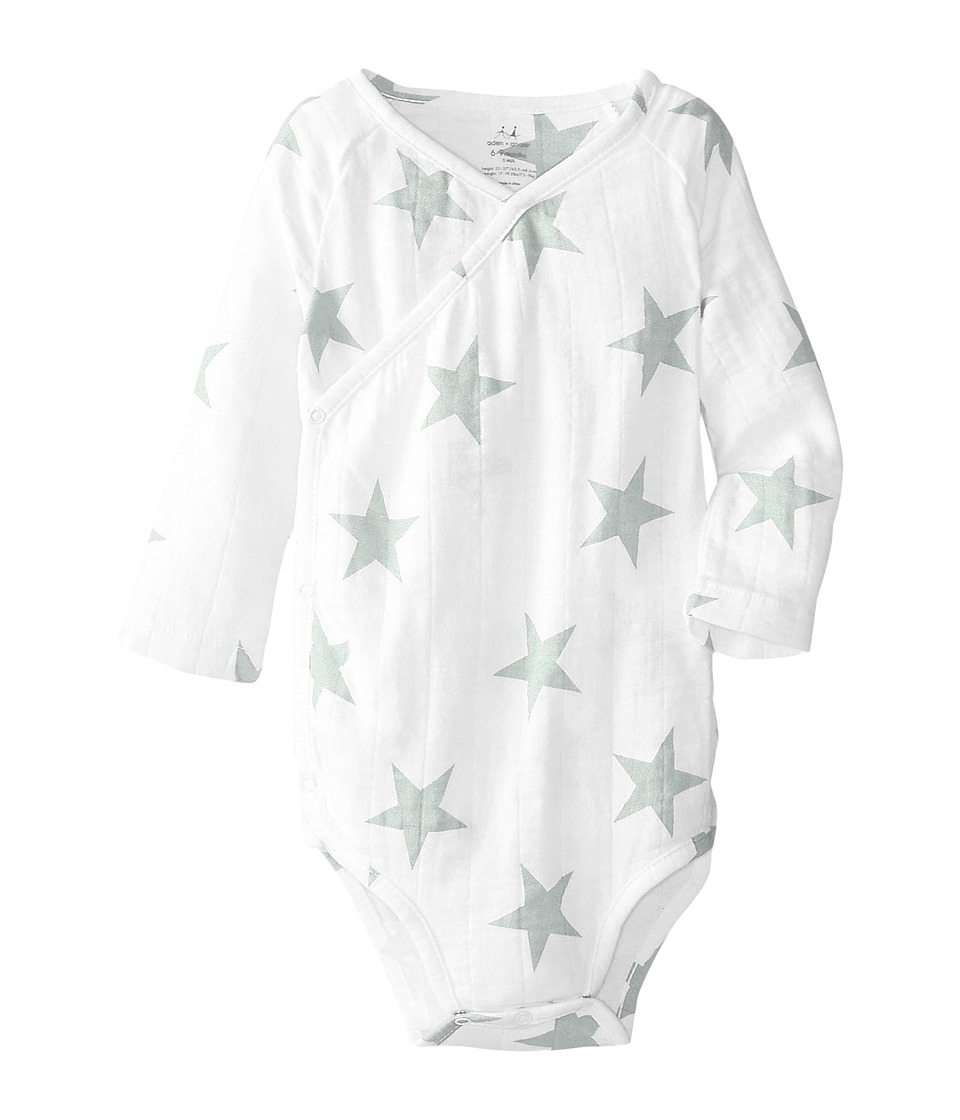 aden + anais - Long Sleeve Body Suit (Infant) (Silver Star) Kid's Jumpsuit & Rompers One Piece