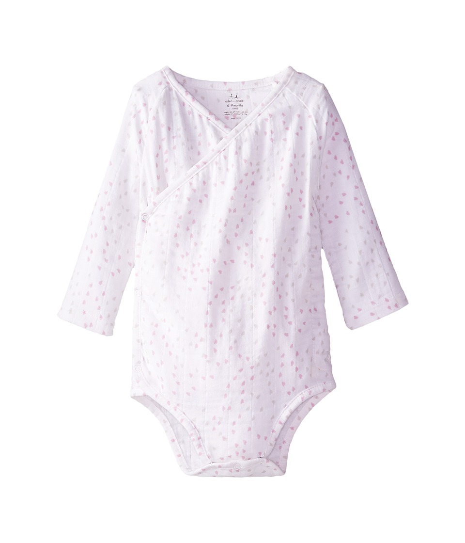 aden + anais - Long Sleeve Body Suit (Infant) (Lovely Mini Hearts) Kid's Jumpsuit & Rompers One Piece