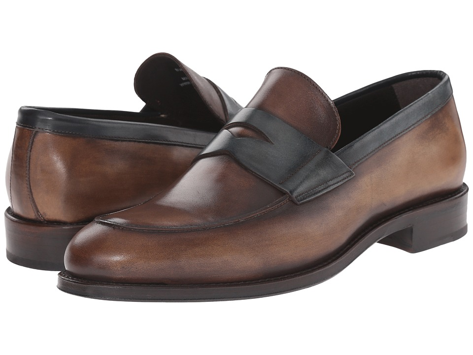 Crosby Square - Burtson (Whiskey/Teal) Men's Slip on Shoes