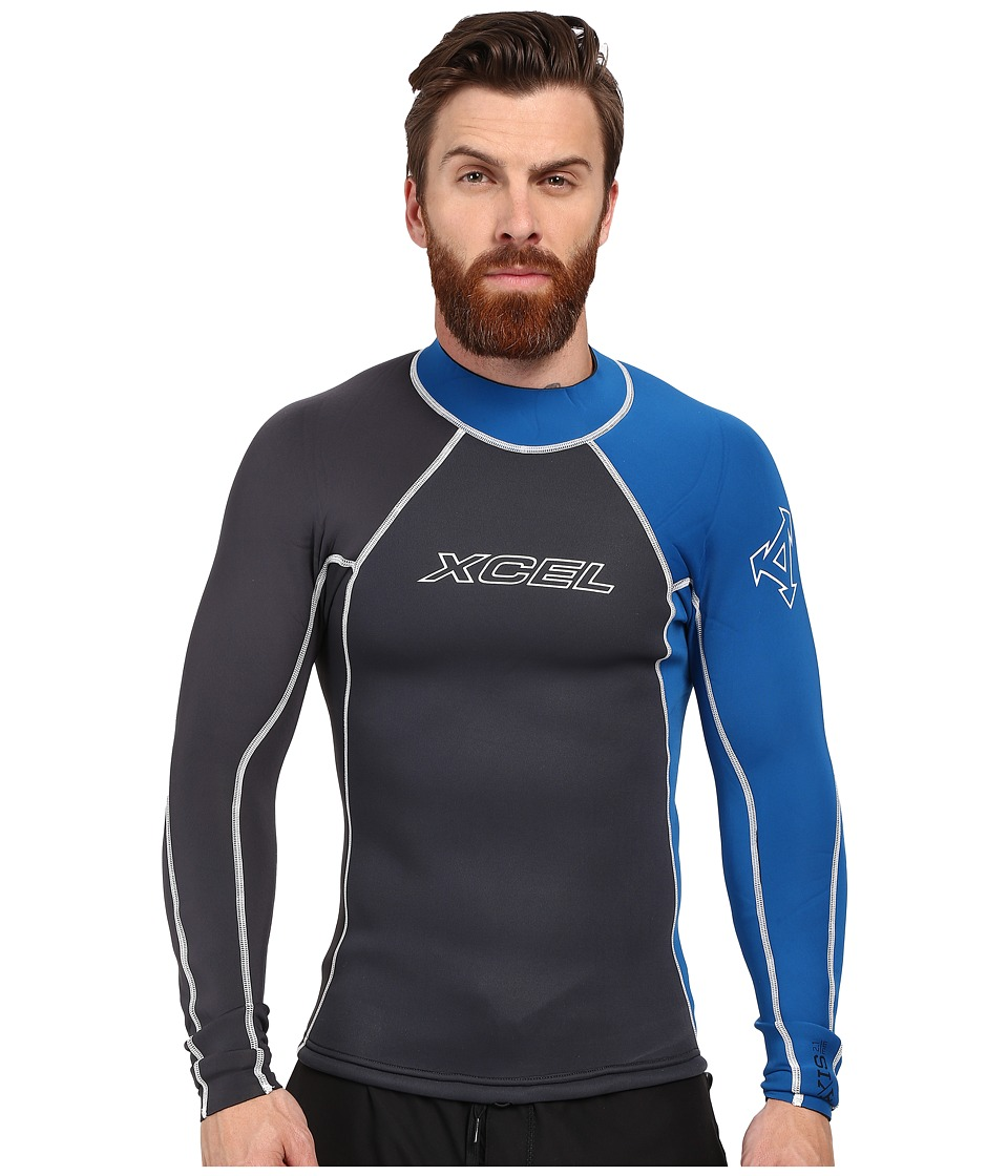XCEL Wetsuits - 2/1mm Axis Long Sleeve Top (Graphite/Nautical Blue) Men's Swimwear