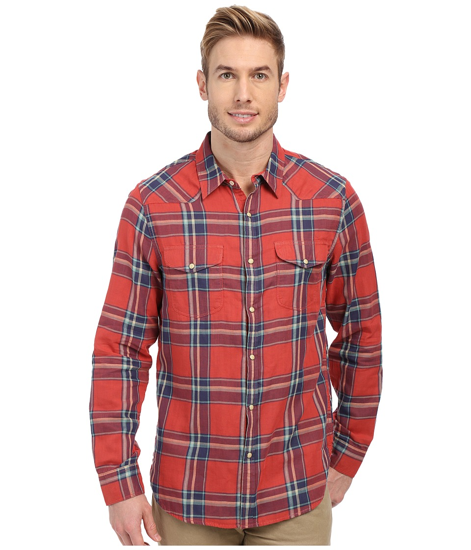 Lucky Brand - Doubleweave Santa Fe Western Shirt (Red/Blue) Men's Long Sleeve Button Up