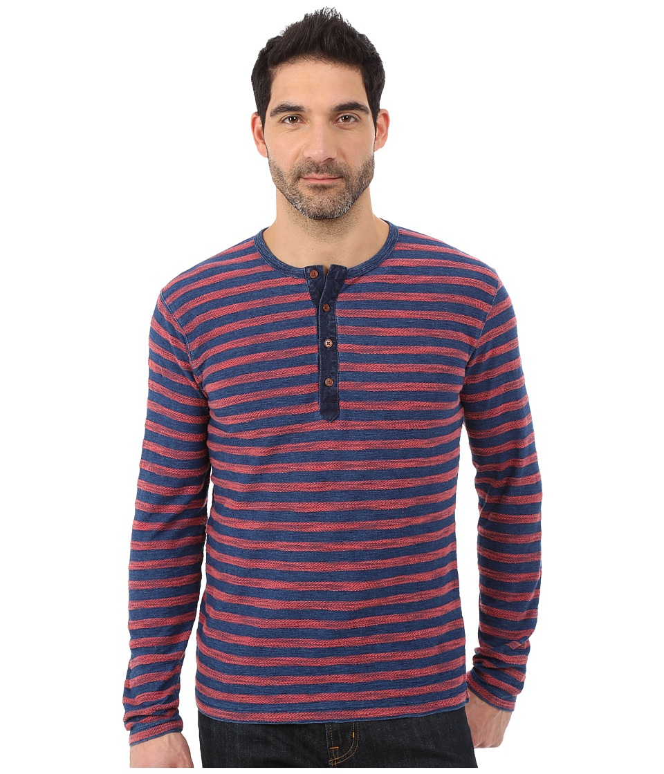 Lucky Brand - Long Sleeve Henley (Indigo Multi) Men's T Shirt