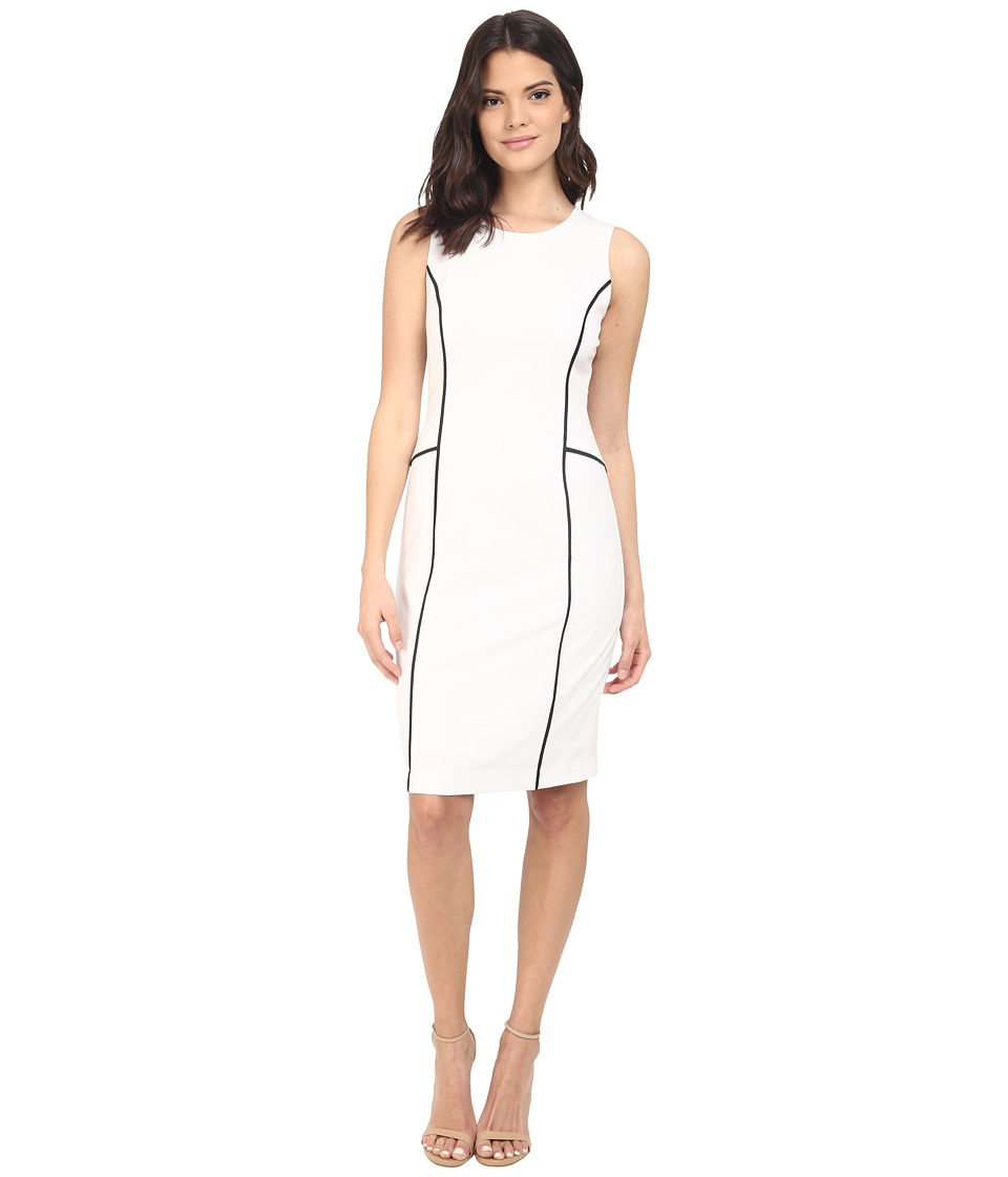 Calvin Klein - Sheath w/ Contrast Piping (Soft White) Women's Dress