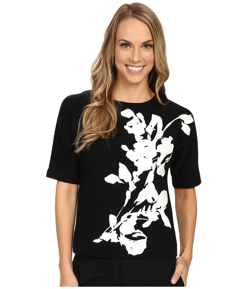 Calvin Klein - Short Sleeve Printed Sweater Top (Black Floral) Women's Short Sleeve Pullover
