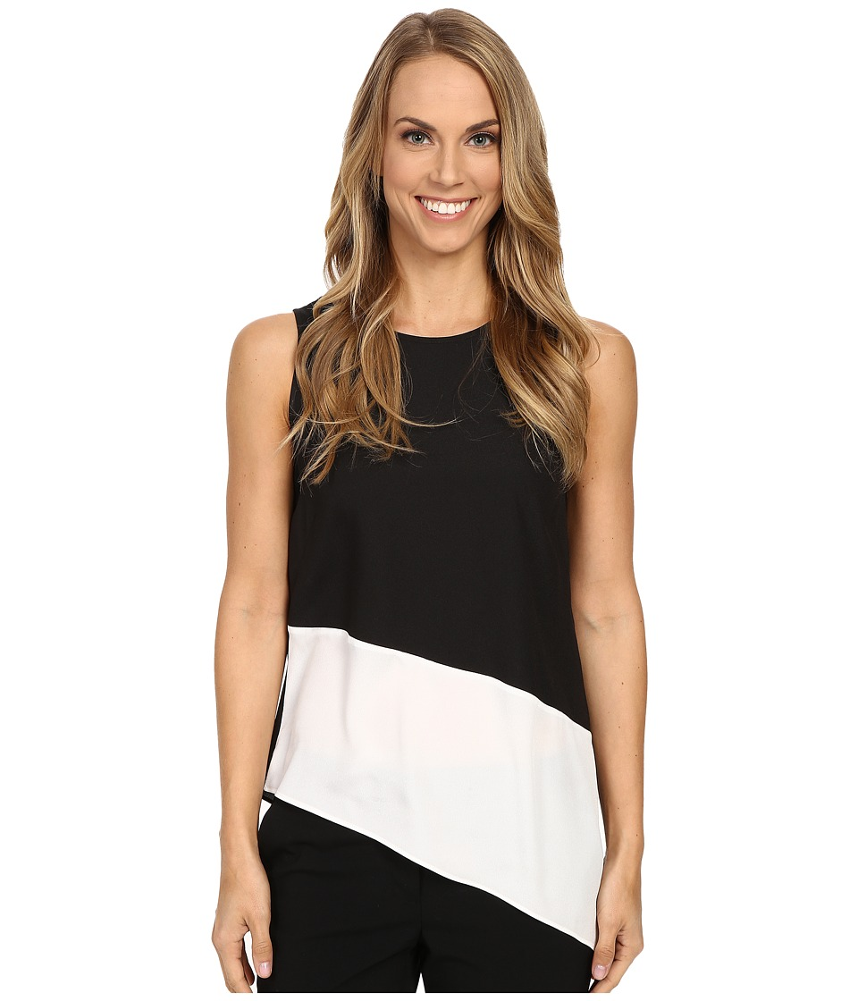 Calvin Klein - Sleeveless Top w/ Angle Bottom (Black) Women's Sleeveless