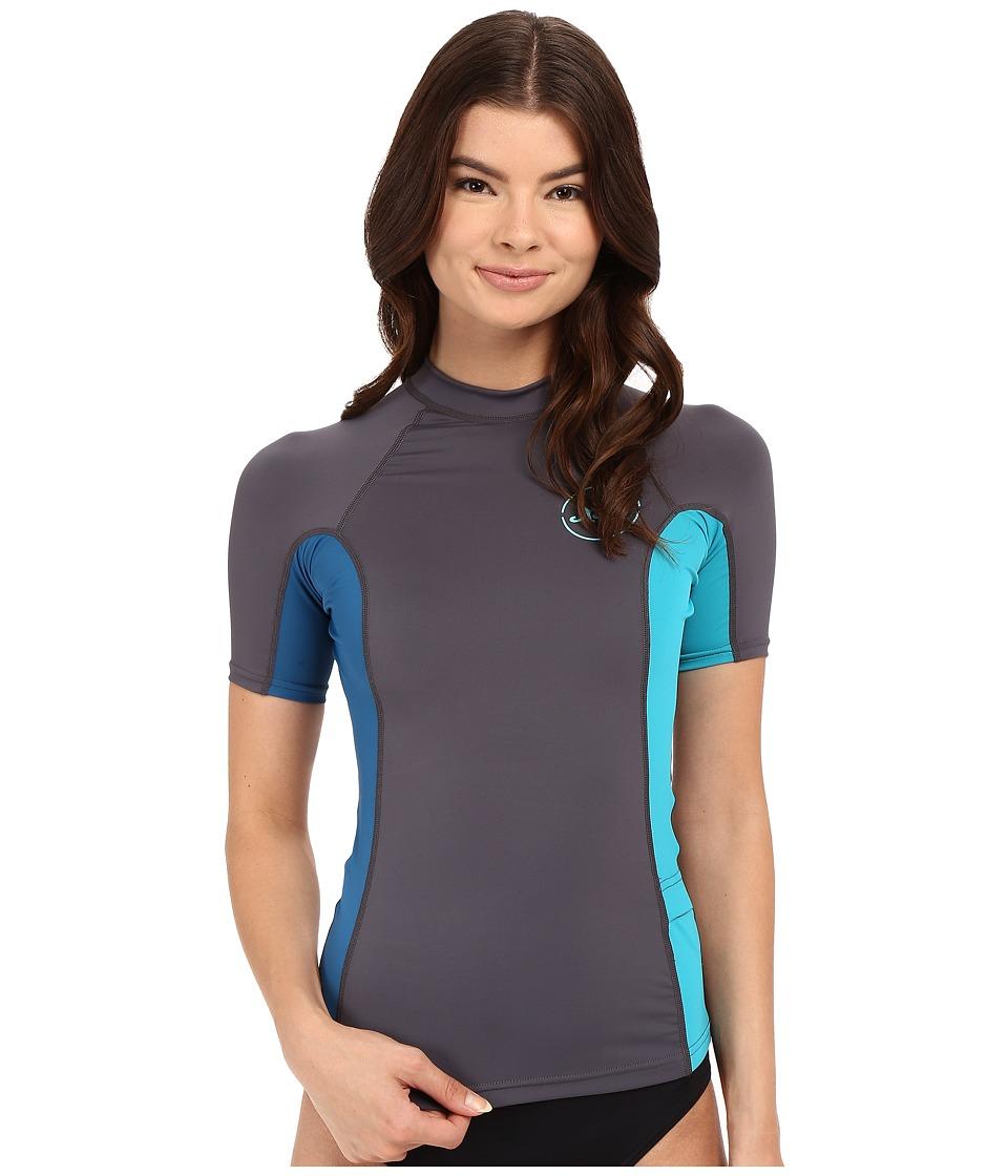XCEL Wetsuits - Paradise UV Short Sleeve with Key Pocket (Gunmetal/Denim/Lake Blue) Women's Swimwear