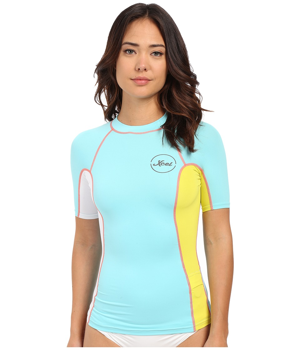 XCEL Wetsuits - Paradise UV Short Sleeve with Key Pocket (Honey Dew/White/Lemon Ale) Women's Swimwear
