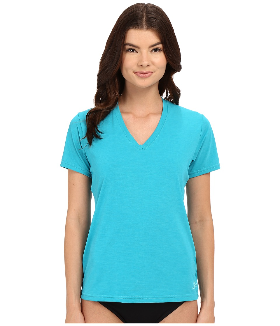 XCEL Wetsuits - Pupukea V-Neck UV Short Sleeve (Heather Lake Blue) Women's Swimwear