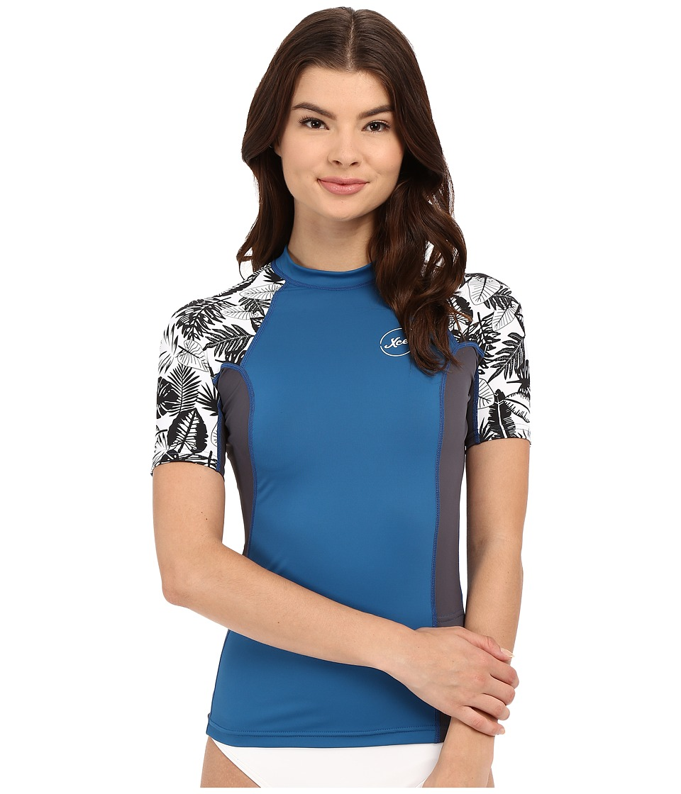 XCEL Wetsuits - Ala Moana UV Short Sleeve with Key Pocket (Denim/Gunmetal/White) Women's Swimwear